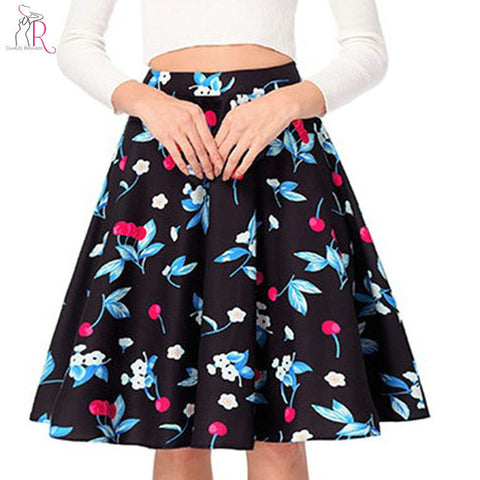 White And Black High Waist Cherry Print Pleated Skirt Womens 2018 Summer Vintage Fashion Mini Skirts Jupe Femme Bottom Wear