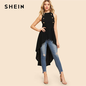 SHEIN Black Elegant Party Double Button Asymmetrical Embellished Dip Hem Shell Round Neck Blouse Summer Women Casual Shirt Top