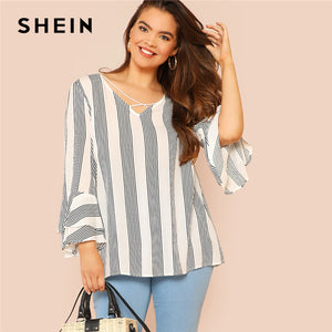 SHEIN Black and White Striped Criss Cross Front Flounce Sleeve Plus Size Casual Blouses Autumn Womens Tops and Blouses