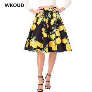 WKOUD Women High Waist Skirts Spring Vintage Flower Printed Pleated Skirt New Female Casual Wear Bottoms Knee-Length Saias H1064