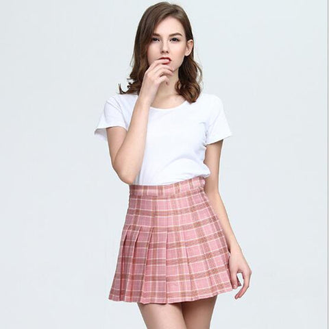 WKOUD 2018 Women's Skirts Plus Size Mini Pleated Skirt Plaid Print Button Waist Skirts Female Casual Wear Students Bottom DK6053
