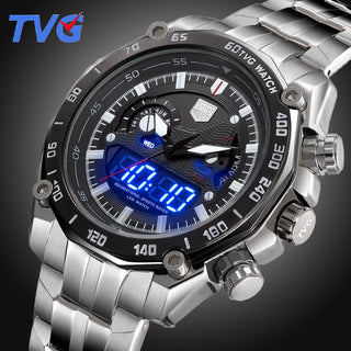 TVG Top Luxury Brand Men Full Steel Watches Men's Quartz Analog Digital LED Clock Man Fashion Sports Army Military Wrist Watch