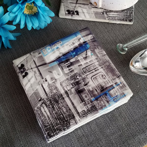 "4"" Ceramic Tile Coaster - Train Collection"