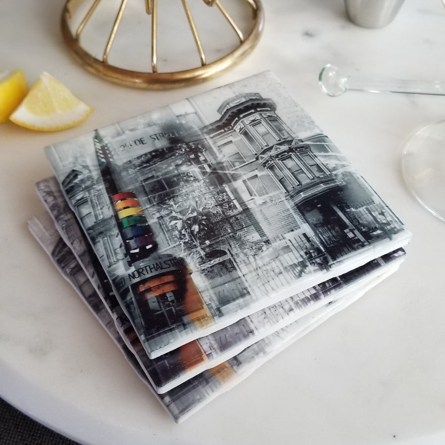 "4"" Ceramic Tile Coaster - Neighborhood Collection"
