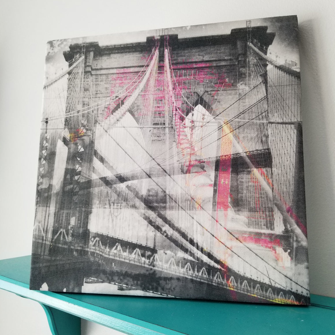 "New York 13"" Canvas - Brooklyn Bridge - Photo Collage Wall Art"