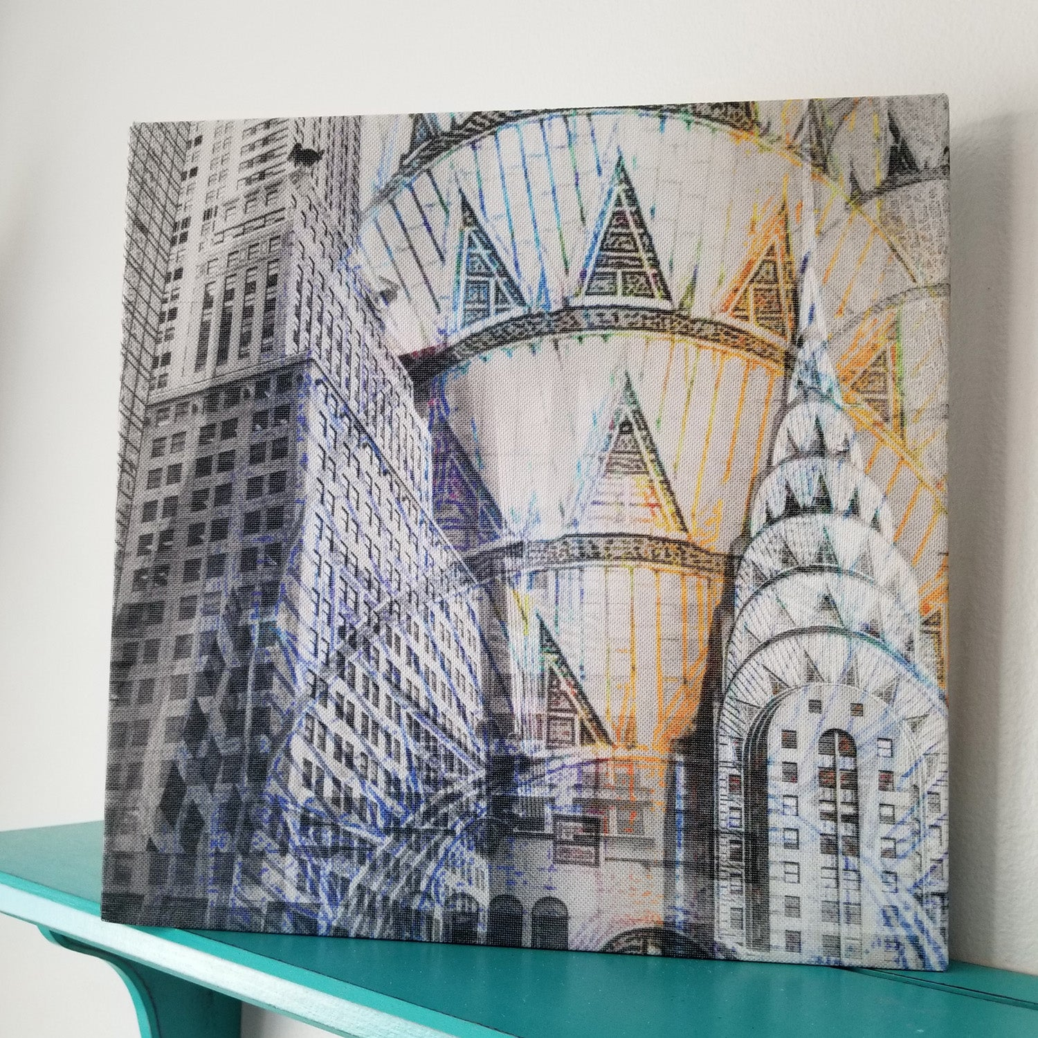 New York 13 Canvas Chrysler Building Photo Collage Wall Art