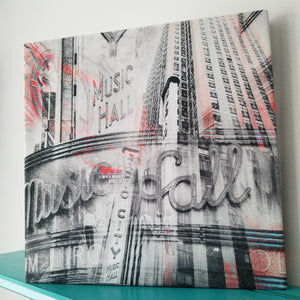 "New York 13"" Canvas - Radio City Music Hall - Photo Collage Wall Art"