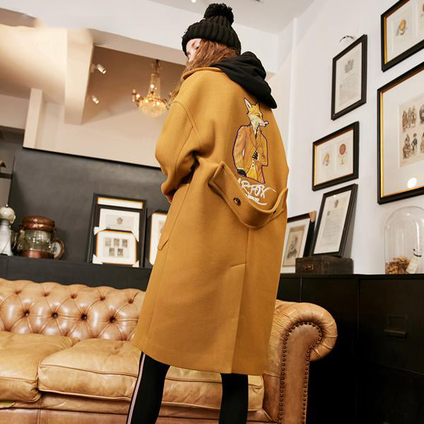 ANIMAL PRINT WOOL COAT