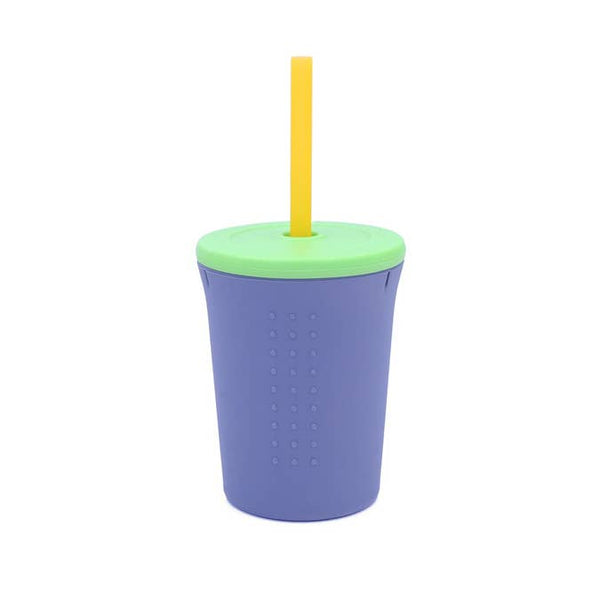 12oz Silicone Straw Cup - Grey/Lime
