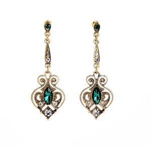 Green Gemstone Vintage Drop Earrings - Shev Jewels