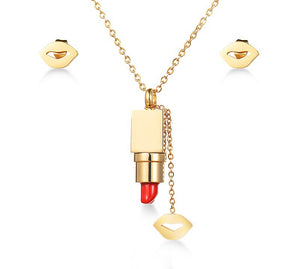 Red Lipstick Gold Set - Shev Jewels