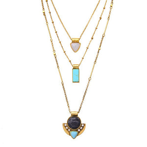 Layering Stone Gold Necklace - Shev Jewels