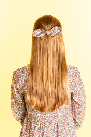 Floral Printed Hair Bow - Large
