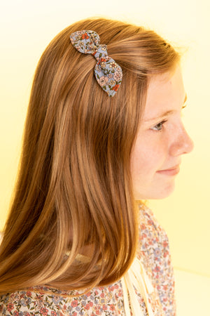 Small Floral Printed Hair Bow