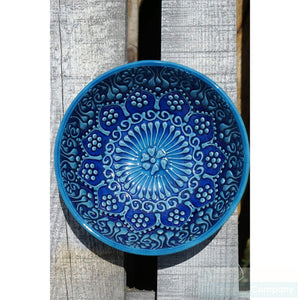 Turkish Hand Painted Two tone dipping bowls - Small - Blue