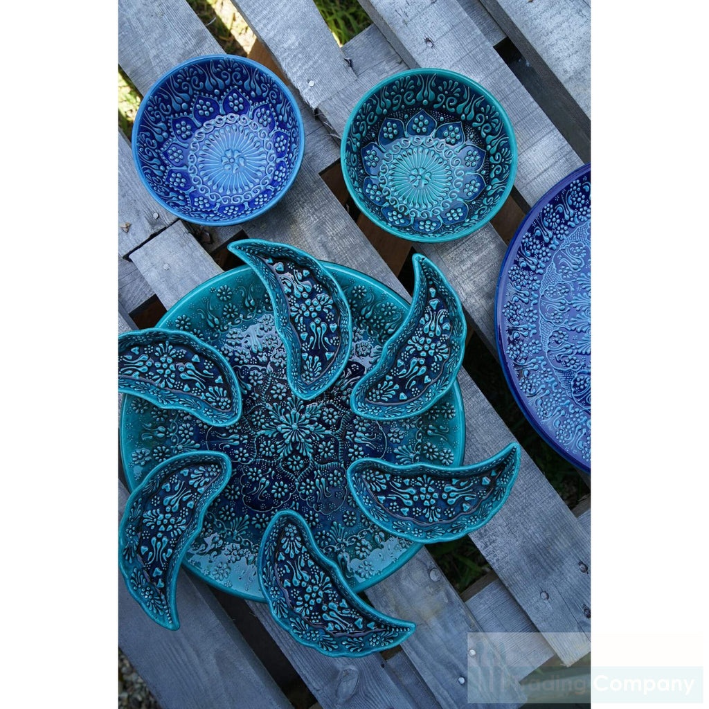 Turkish Hand Painted Blue Meze Set