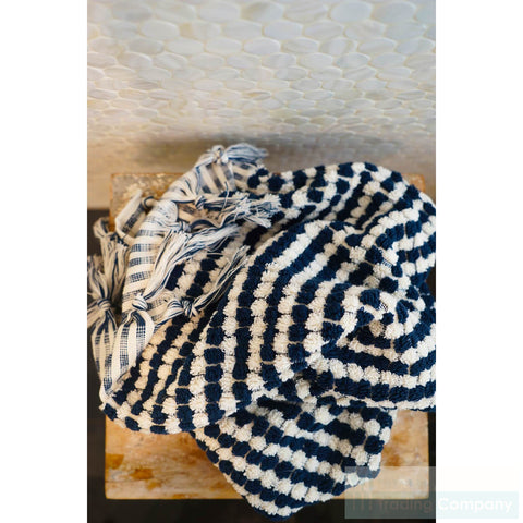 Turkish Navy blue and cream bath towels
