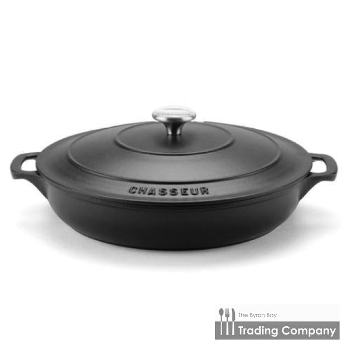 Chasseur Round Low Casserole 30cm Matte Black-Byron Bay Trading Company