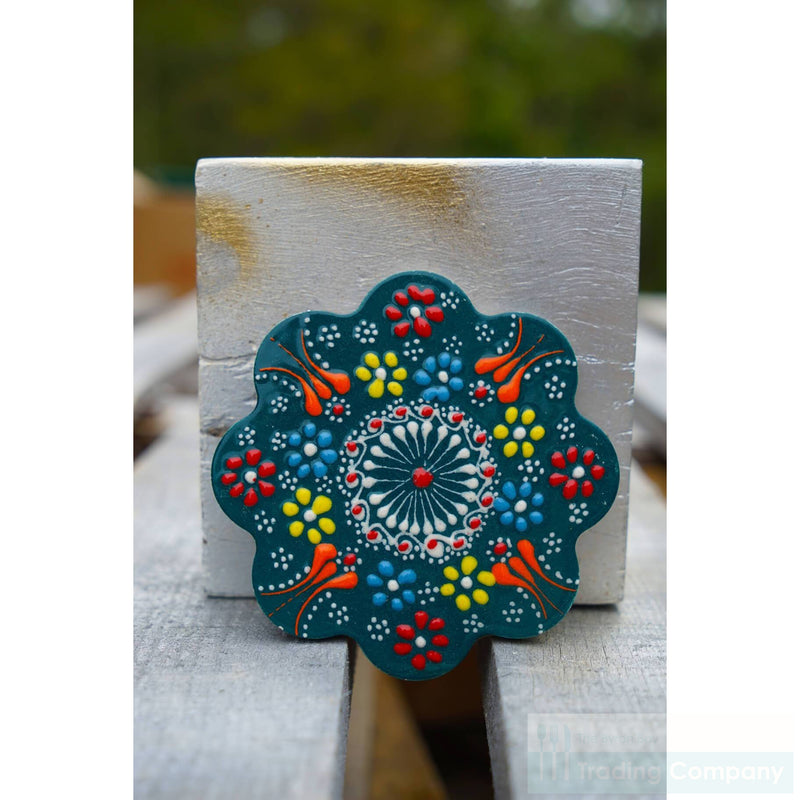 Turkish Hand Painted Tile Coaster- Dark Green -Set/4