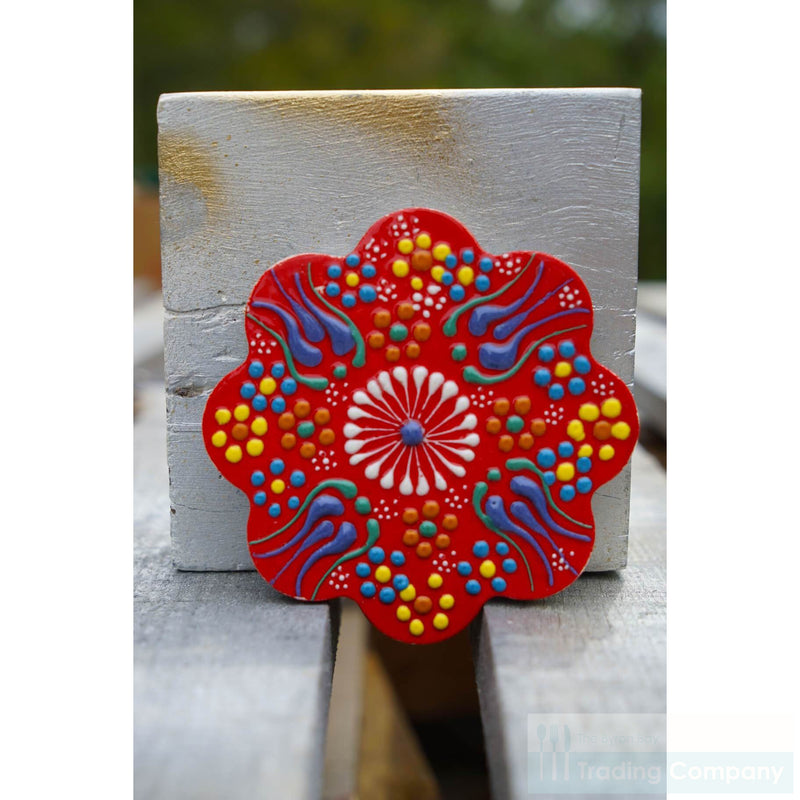 Turkish Hand Painted Tile Coaster - Red Set/4