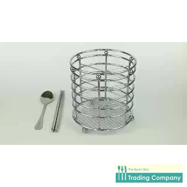 La Belle Steel Utensil Holder - Heavy Duty Chromed Steel-Byron Bay Trading Company