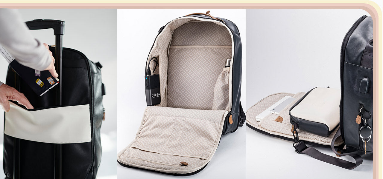 3 photos showcasing the passport pocket and carry on handle strap, the power bank and water bottle pockets, the backpack zipped open on one side to reveal how it opens flat while also showing the crossbody bag and the key leash on the side.