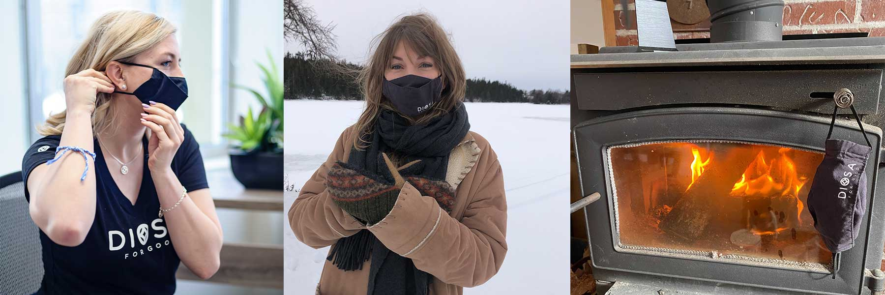 This image tells a story in 3 parts: 1. Putting on a DIOSA 3D origami-inspired breathable mask. 2. Going outside for snowy adventures. 3. Warming up and drying the mask in front of a wood stove.