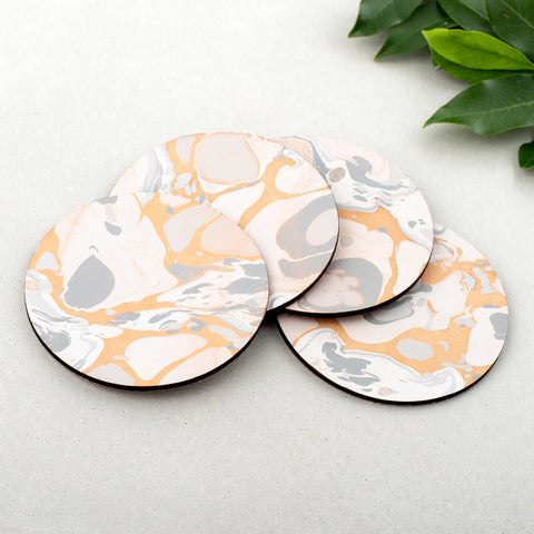 Marbled Leather Moon Coasters