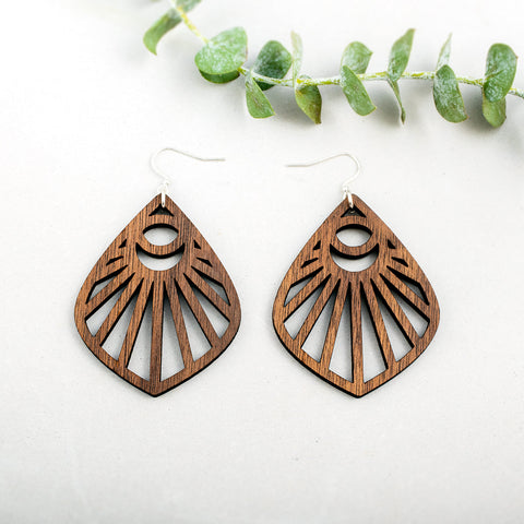 Wooden Moonbeam Earrings