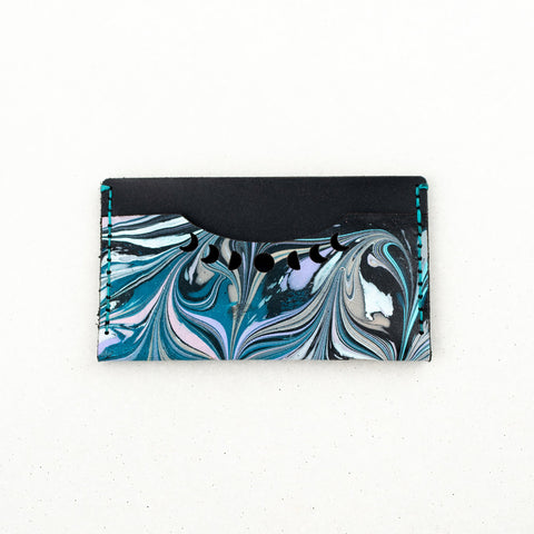 Black Marbled Leather Luna Card Wallet