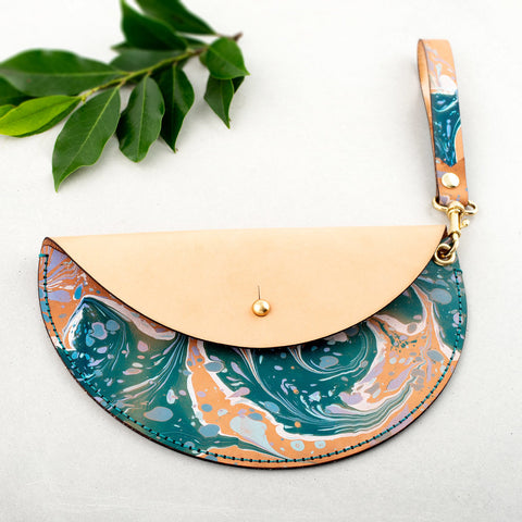 Marbled Leather Crescent Clutch