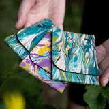 Turquoise Slim Marbled Leather Wallet