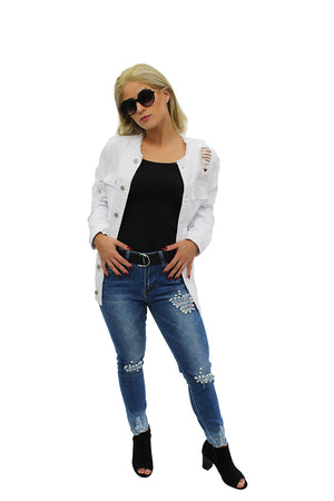 Perla Jeans & White Ripped Harley Denim Jacket