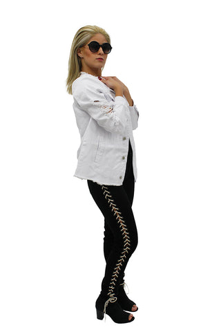 White Ripped Harley Denim Jacket & Black Lacy Jeans