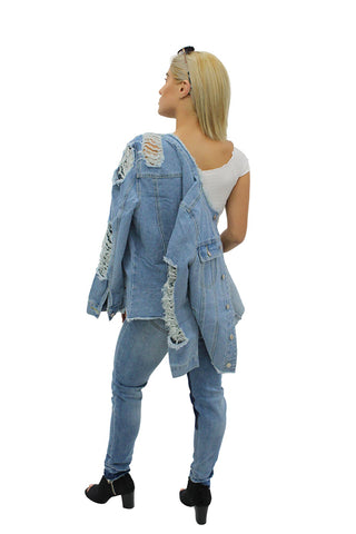 Blue Ripped Harley Denim Jacket & Patches Jeans