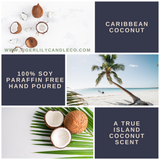 Caribbean Coconut 100% Soy Candle | Scented Candle | Amber Jar | Hemp Wick 7.3 oz