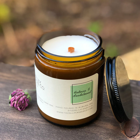Oakmoss & Sandalwood Luxury Scented Candle | Wooden Wick | 7.3 oz Amber Jar