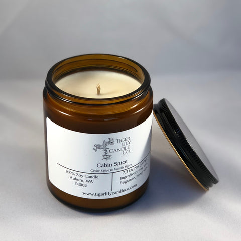 Cabin Spice 100% Soy Candle - Vanilla-Cedar Spice - Scented Candle - Amber Jar - Hemp Wick - 7.3 oz