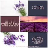 Luscious Lavender 100% Soy Candle - Scented Candle - Amber Jar - Hemp Wick - 7.25 oz
