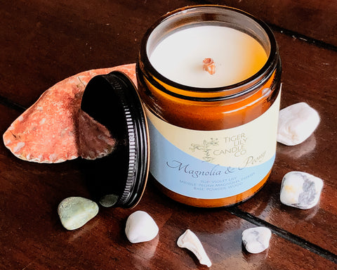 Magnolia & Peony | Luxury Wax Candle | Wooden Wick Hand Poured Scented Candle | Amber Jar 7.3 oz.