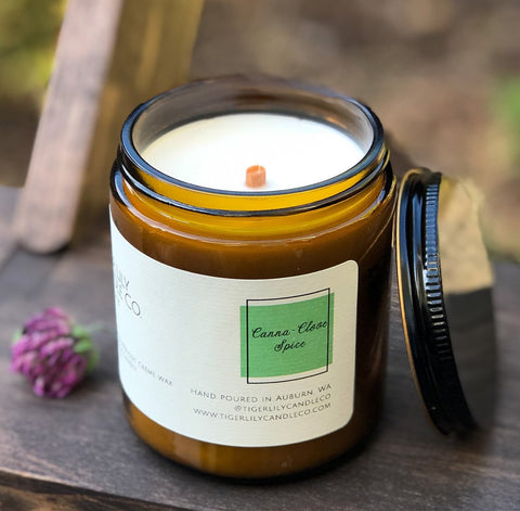 Canna-Clove Spice Luxury Scented Candle | Wooden Wick | Amber Jar 7.3 oz