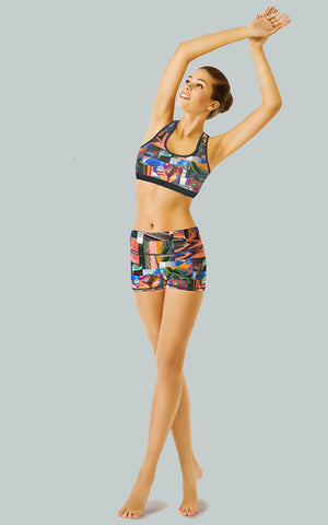 Abstract Patchwork Sports Bra