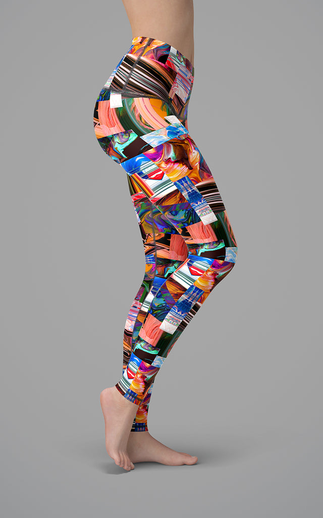 Abstract Patchwork H/R Legging
