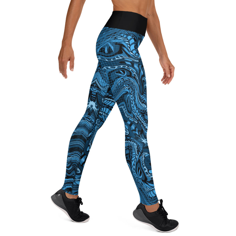 Twisted Blue Flame Yoga Leggings
