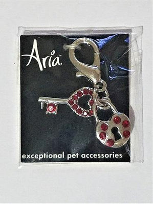 Aria Heart and Key Charm - Posh Pet Glamour Boutique