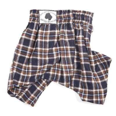 Belly Boxers-Blue Brown Flannel - Posh Pet Glamour Boutique