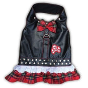 Biker Harness Dress Red Plaid - Posh Pet Glamour Boutique