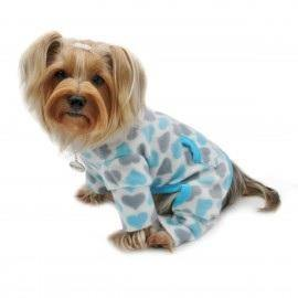 Blue and Gray Hearts Fleece Turtleneck Pajamas - Posh Pet Glamour Boutique