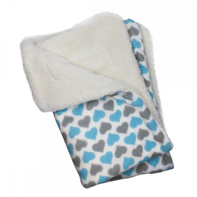 Blue and Gray Hearts Fleece Ultra-Plush Blanket - Posh Pet Glamour Boutique