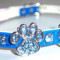 Blue Crystal Pawprint Collar - Posh Pet Glamour Boutique